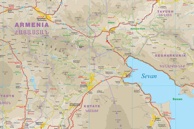 Armenia, mapa impermeable de carreteras. Escala 1:1.250.000 ...