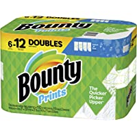 Bounty Select-A-Size Paper Towels, Print, 6 Double Rolls = 12 Regular Rolls, Prime Pantry (Packaging May Vary)