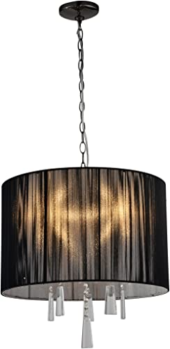 Artiva USA A501103 Modern, Comtemporary Elina 5-Light Crystal Chandelier with Threaded Silk Shade, 20 x 20 x 12.75 , Black Chrome