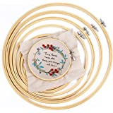 IKAIN Embroidery Hoops 6 Pieces Bamboo Frame Cross Stitch Hoop Ring 4 inch to 10 inch for Embroidery Cross Stitch and…