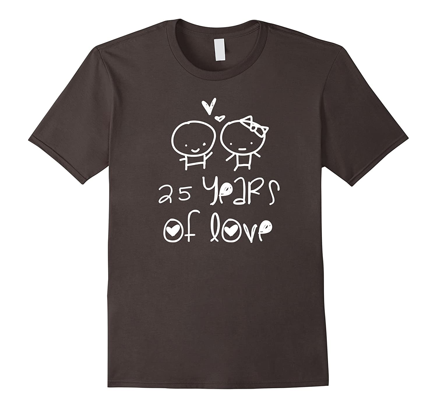 25 Years Of Love T-shirt. Silver Wedding Gifts Cute Graphic-Rose