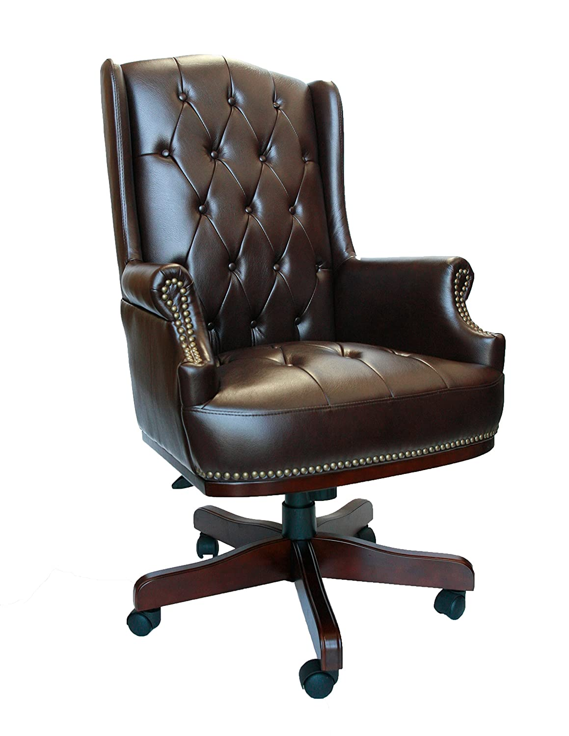 LUXURY MANAGERS DIRECTORS CHESTERFIELD ANTIQUE CAPTAIN STYLE LEATHER OFFICE  DESK CHAIR FURNITURE (brown): Amazon.co.uk: Office Products