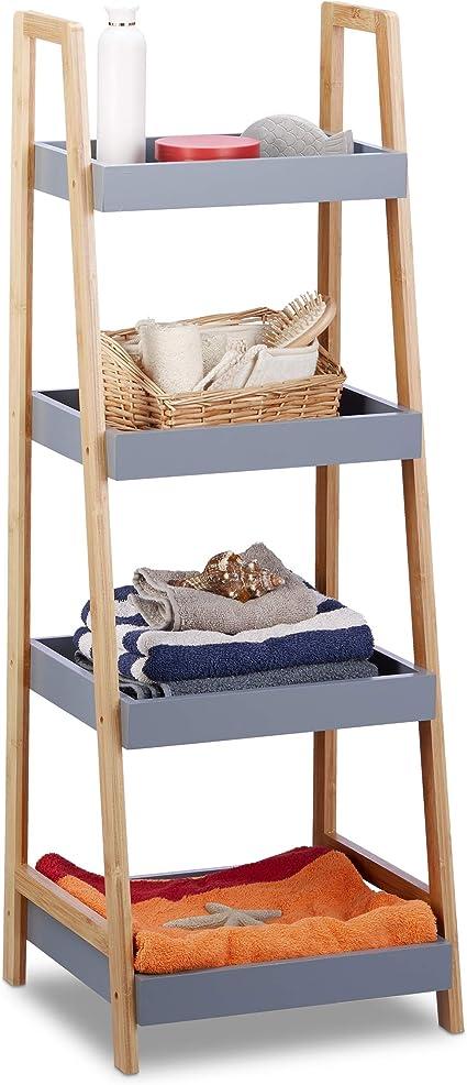 Relaxdays estantería de baño, Cuatro estantes, Madera, Organizador de Cocina, Gris, 98 x 36 x 34,5 cm