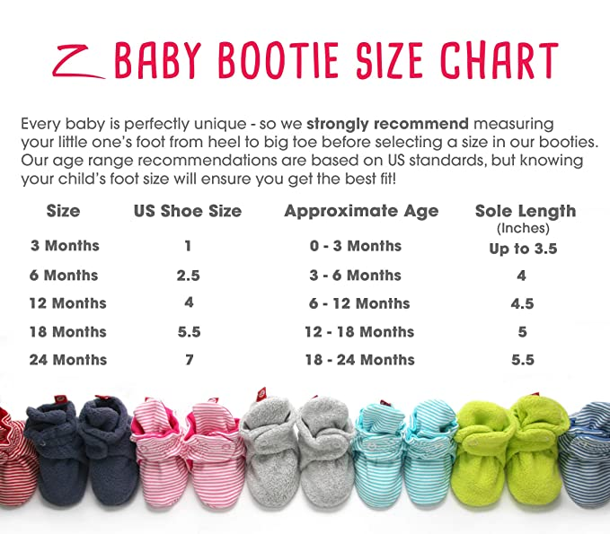 Baby Bootie Size Chart