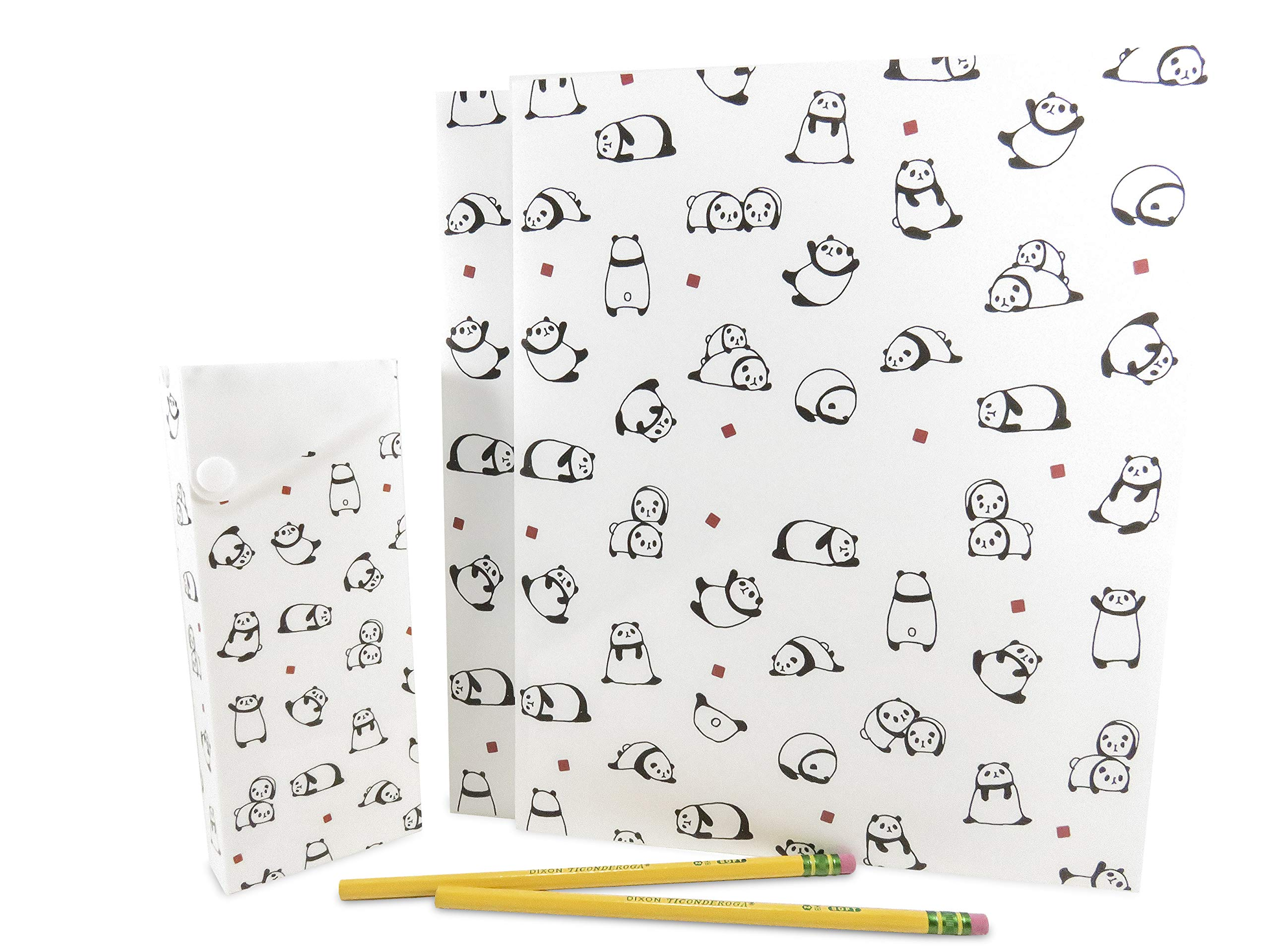 Cute 2-Pocket Panda Plastic Glossy Folder with Pencil Pen Case and 2 Yellow Unsharpened Pencils (5 Piece Set)