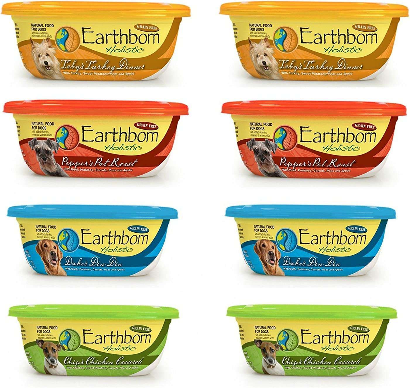 Earthborn Holistic Grain Free Tub Dog Food 4 Flavor Variety Bundle: (2) Pot Roast, (2) Chicken Casserole Stew, (2) Turkey Dinner in Gravy and (2) Stew with Duck, 8 Ounces Each (8 Tubs Total)