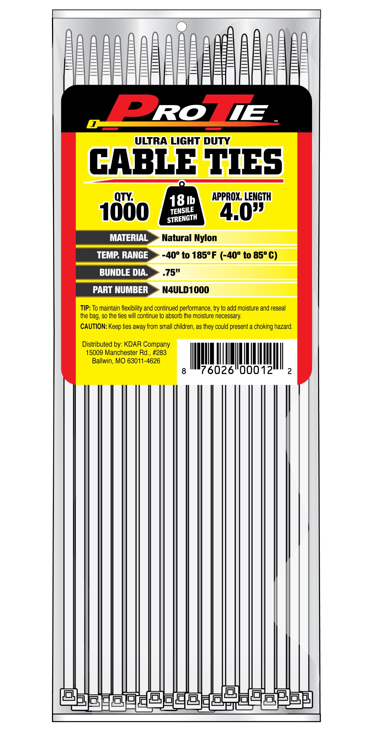 Pro Tie N4ULD1000 4-Inch Ultra Light Duty Standard Cable Tie, Natural Nylon, 1000-Pack by Pro Tie