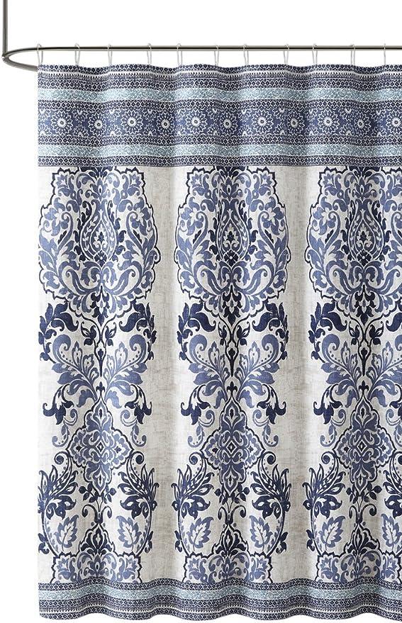 Large Floral Paisley Print Elegant Blue Green Purple Fabric Shower Curtain