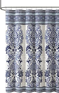 Maya Blue Beige Cotton Fabric Shower Curtain Floral Paisley Boho Design