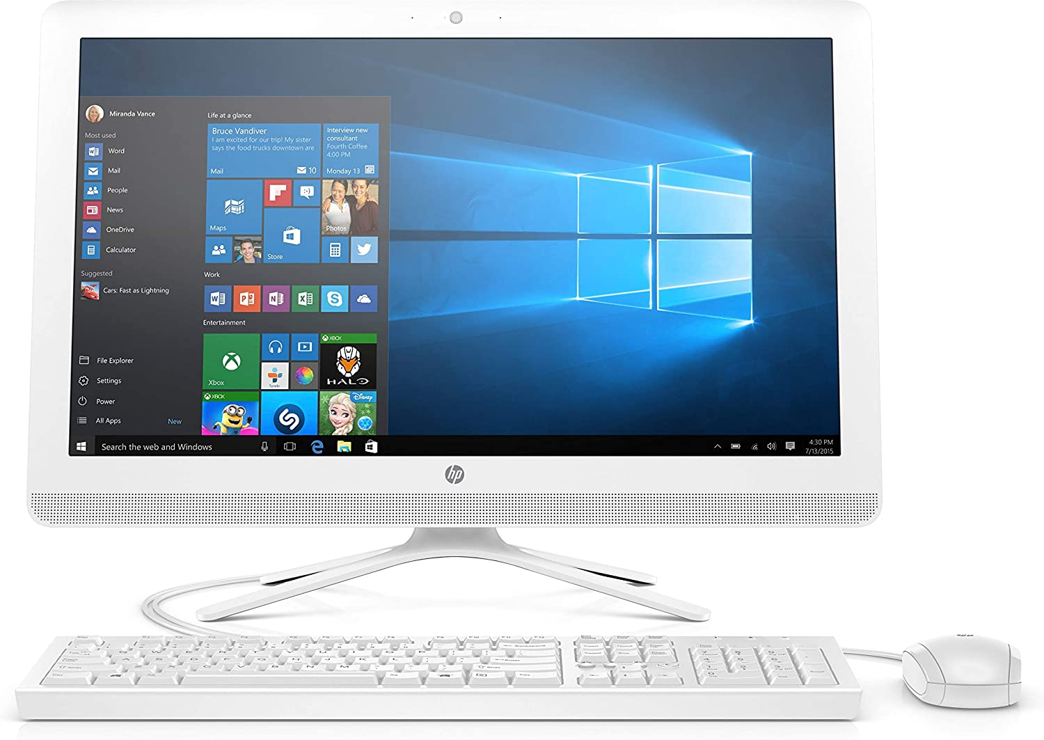 "2017 Newest Edition HP 23.8"" Full HD(1920x1080) Premium High Performance TouchScreen All in One Desktop, Intel Quad Core AMD A8, 4GB RAM, 1TB HDD, Win10, White"