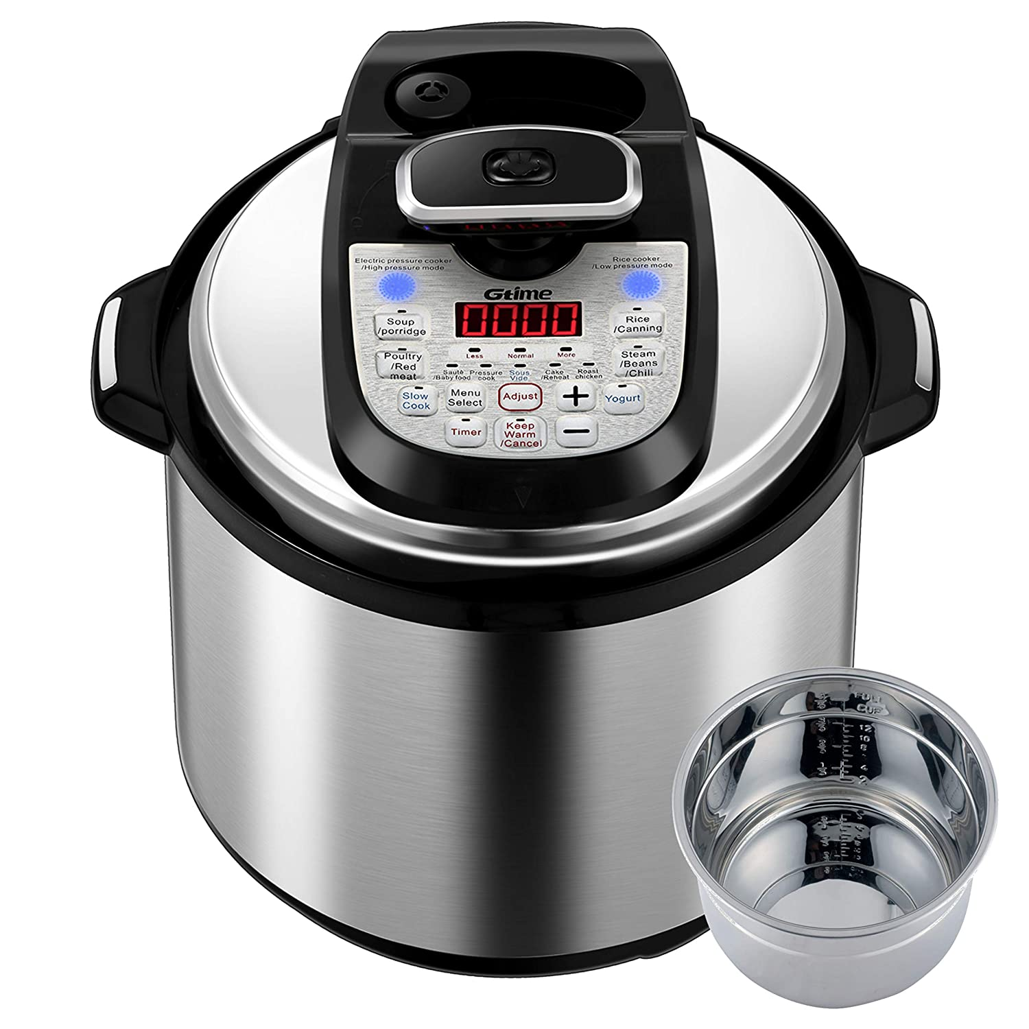 Gtime Multi-Cooker 18-in-1 Programmable Pressure Cooker 6 Quarts with Stainless Steel Pot, Steamer Basket, Pressure cook, Slow cook, Sauté, Rice cooker, Yogurt, Steam