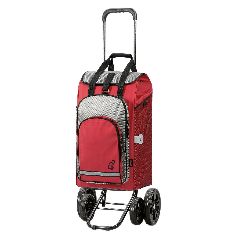 Andersen Chariot de courses Quattro avec sacoche Hydro rouge volume 60L poche isotherme cadre acier avec 4 roues