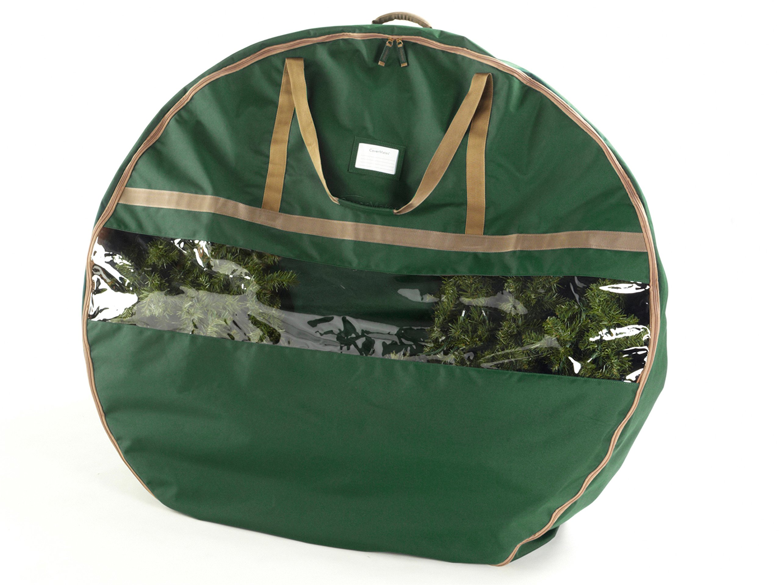 CoverMates – 48'' Christmas Wreath Storage Bag – 3 Year Warranty- Green