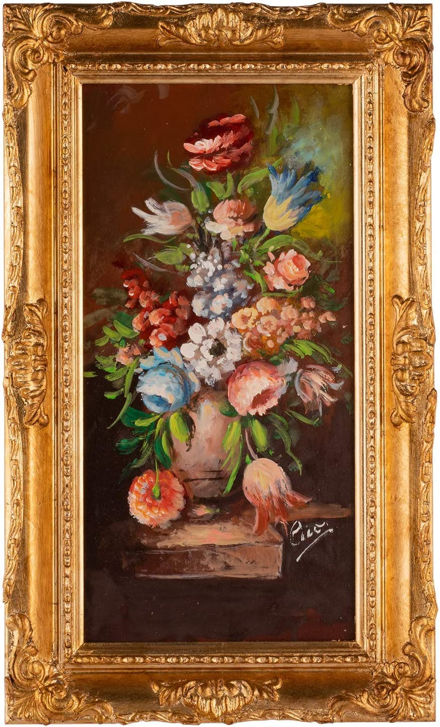Italux - Cuadro floral pintor L.Cicas sobre madera con marco barroco de hoja dorada: Amazon.es: Amazon.es