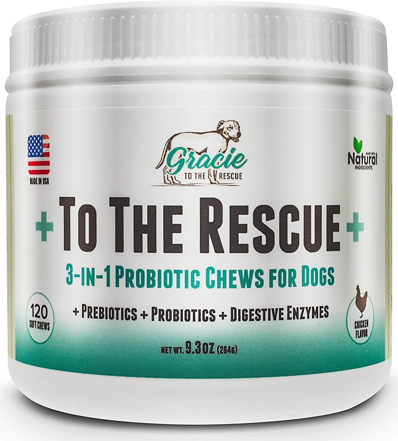 Probiotics for Dogs – 120 Soft Chews – All Natural Dog Probiotics, Prebiotics and Digestive Enzymes for Constipation, Immune Support, Diarrhea, Upset Stomach, and UTI s To The Rescue