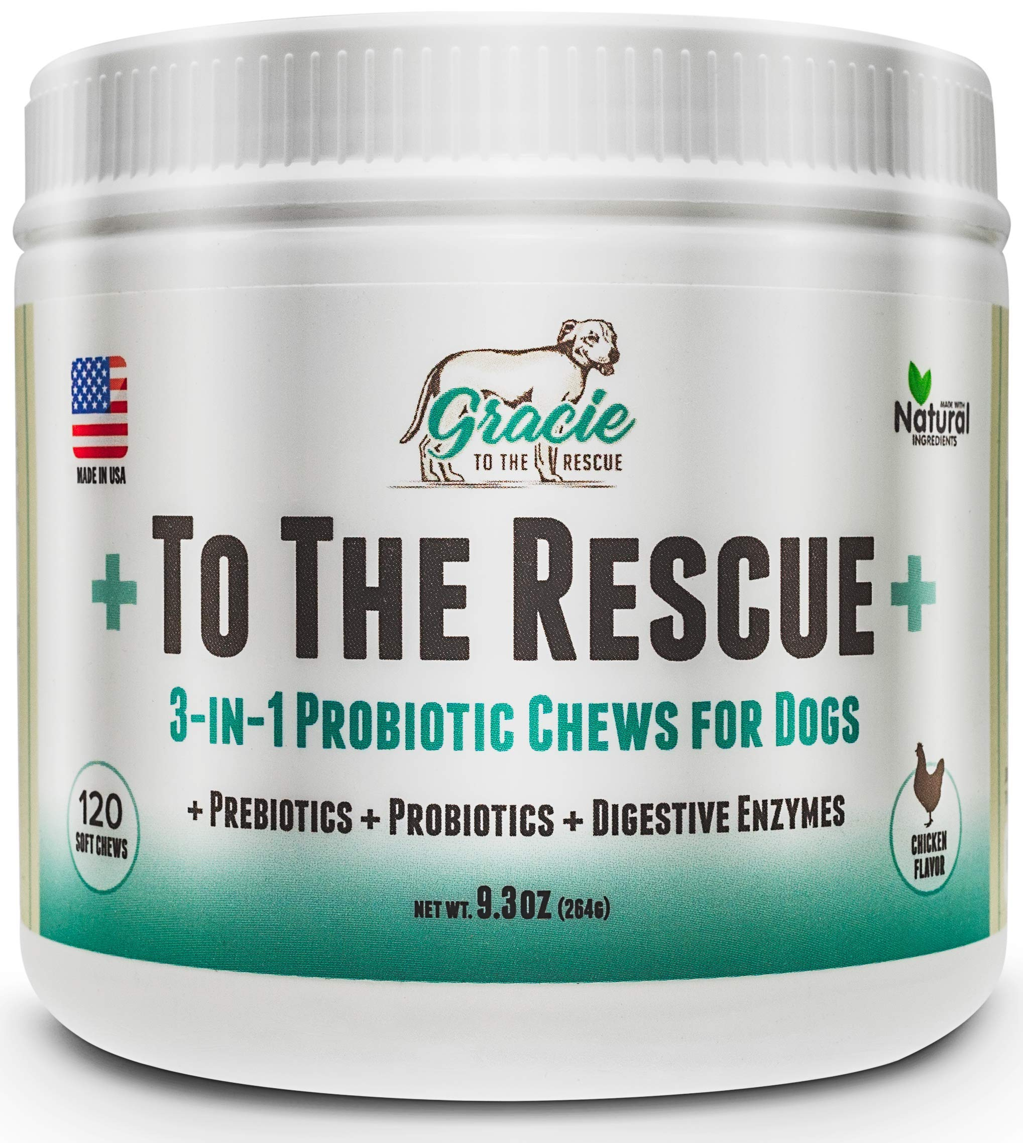 Probiotics for Dogs - 120 Soft Chews - All Natural Dog Probiotics, Prebiotics and Digestive Enzymes for Constipation, Immune Support, Diarrhea, Upset Stomach, and UTI's +To The Rescue+ by To The Rescue