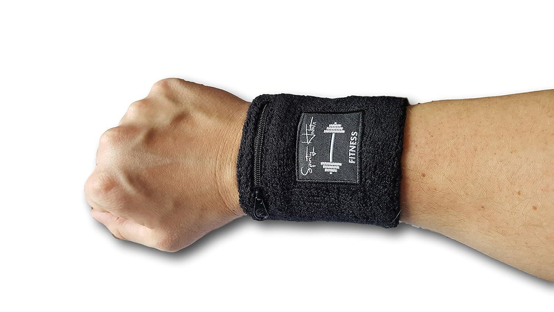 Sweatband Radfahren Schweissband Wristband Geld walken etc Armschwei/ßband Karten Joggen mit wasserabweisender Rei/ßverschluss Tasche f/ür Schl/üssel Fitness Schwei/ßband schwarz