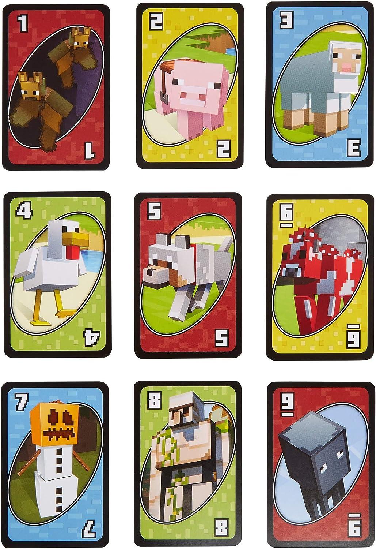 Mattel Games UNO Minecraft Card Game Now UNO Includes World of Minecraft