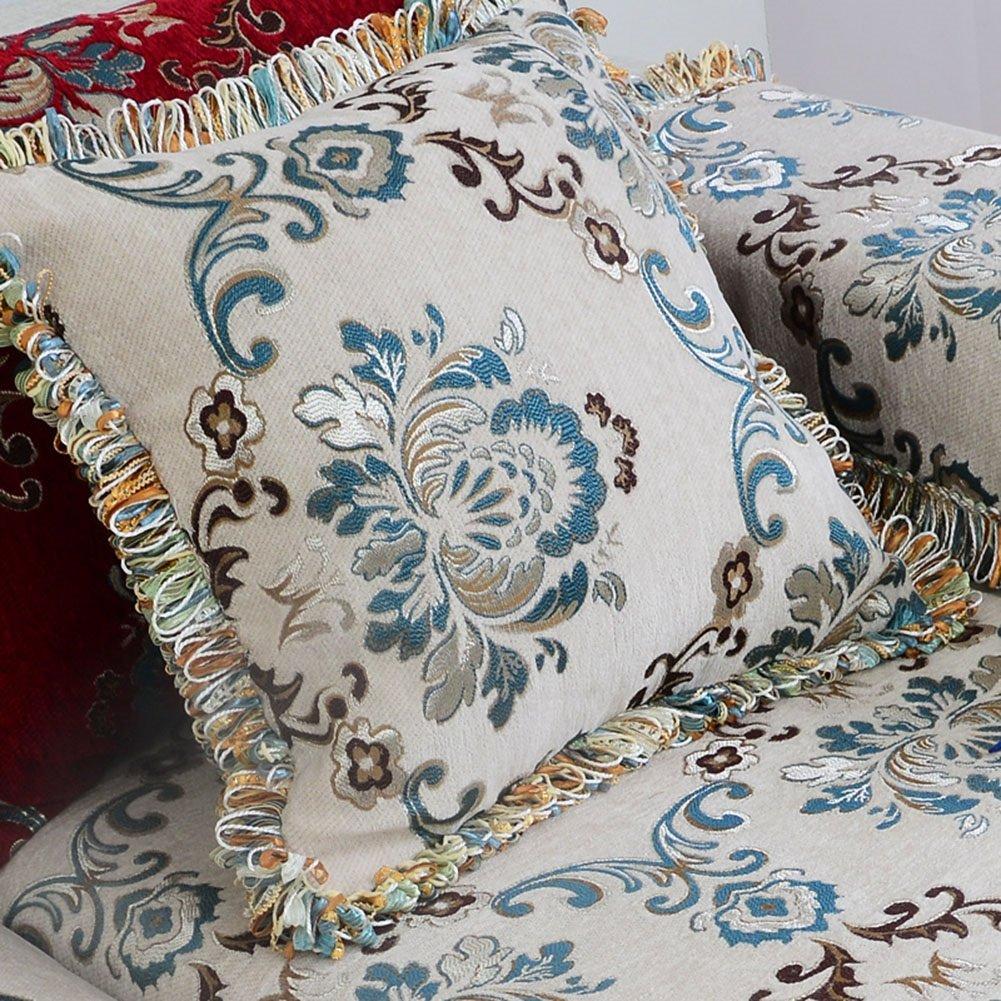 QIDI Funda De Almohada Algodón Impresión Sala De Estar Sofá Silla Cintura Almohada 45 * 45cm (Color : Style 1)