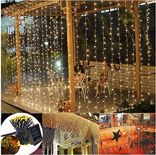 Solar Powered LED Curtain Lights,6.6ft x 6.6ft,8 Mode,200 LED Waterproof Twinkle Lights,Warm White,Outdoor Decorative Wall Window String Lights for Wedding Backdrop Camping Patio Decor -Warm White