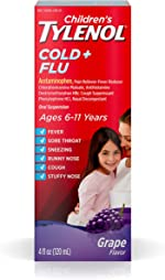 Children's Tylenol Cold & Flu Liquid Oral Suspension Medicine, Grape, 4
