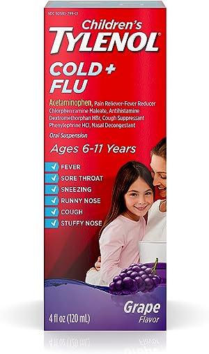 Children's Tylenol Cold & Flu Liquid Oral Suspension Medicine, Grape, 4 fl. oz