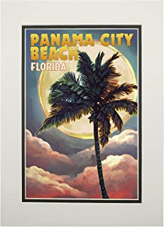 product image for Panama City Beach, Florida - Palm and Moon (11x14 Double-Matted Art Print, Wall Decor Ready to Frame)
