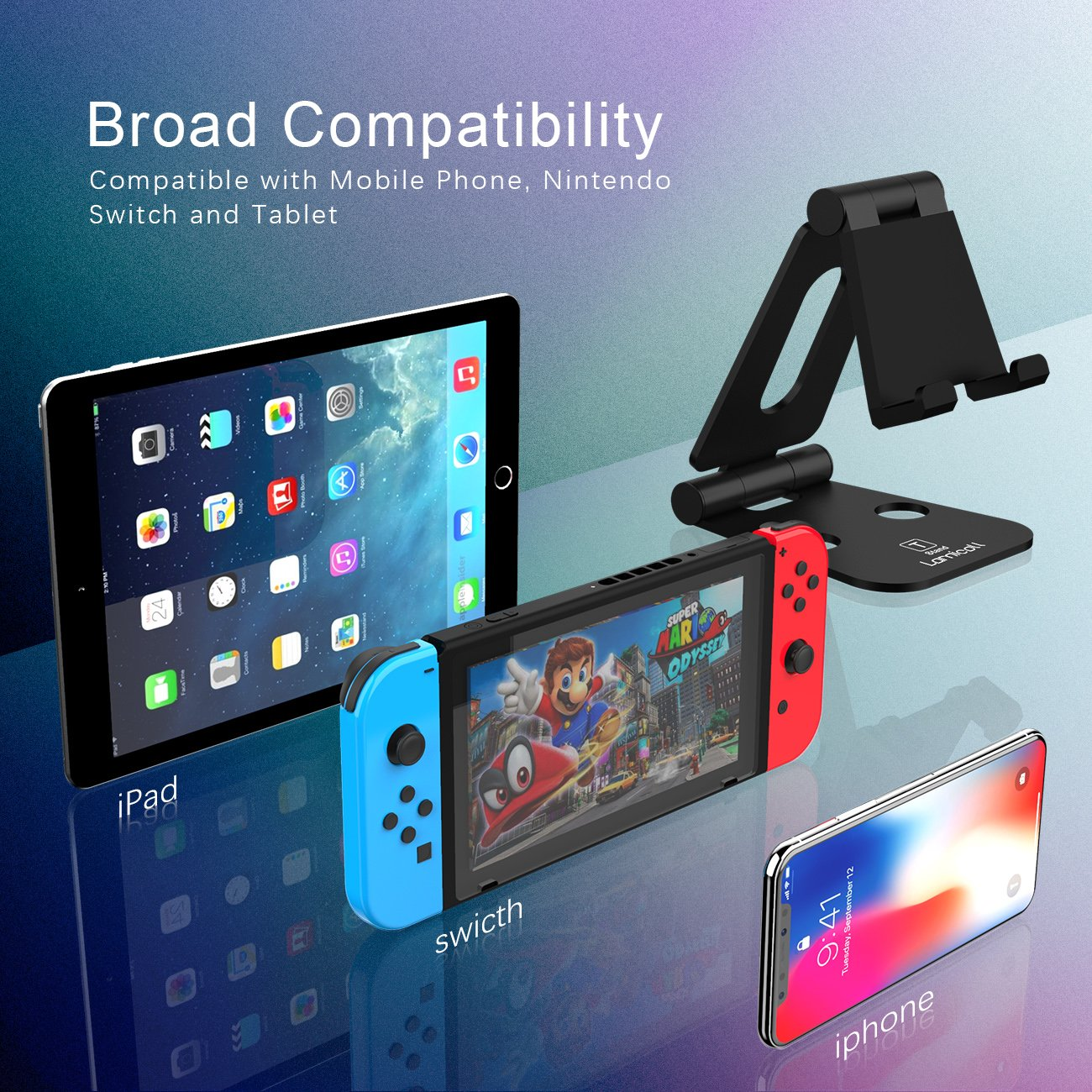 Multi-Angle Stand for Nintendo Switch, Lamicall Playstand : Cell Phone Tablet Video Game Holder Dock Compatible with Phone 7 6 Plus 5, Accessories, iPad and Tablets (4-10'') Foldable Adjustable- Black by Lamicall (Image #3)