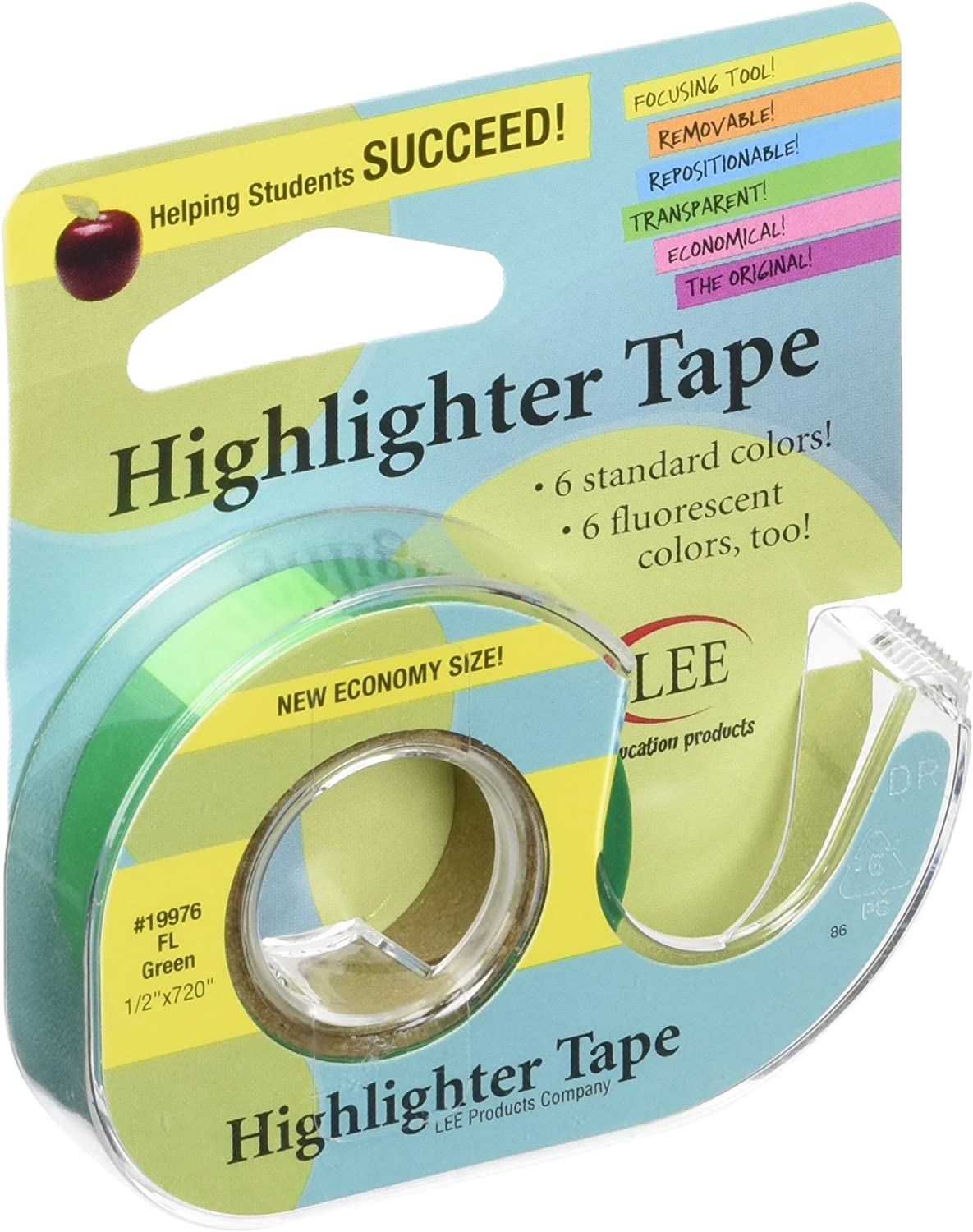 """Lee Products Fluorescent Highlighter Tape .5/""""X720/""""-Purple"""