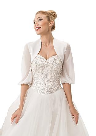27a74f7282 Ossa Women Wedding Bridal Bolero Satin Jacket Shrug With Chiffon Sleeves