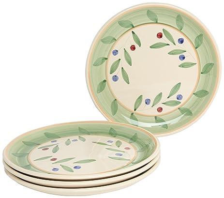 Caleca Olivella 4-Piece Dinner Plate Set Service for 4  sc 1 st  Amazon.com & Amazon.com | Caleca Olivella 4-Piece Dinner Plate Set Service for 4 ...
