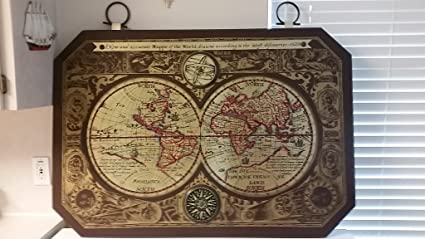 A New And Accurate Map Of The World 1628.Amazon Com Vintage Framed 44 X 30 Inches Masketeers 1964 Old World