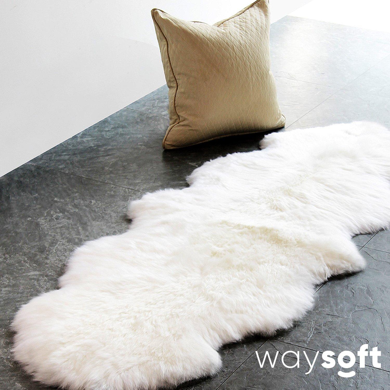 WaySoft (TM) Eco-Friendly Ivory New Zealand/Australia Sheepskin Rug—Genuine Wool; 2ft x 6ft