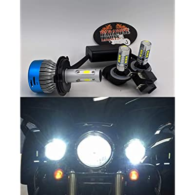 6200 Lumen 3 Piece Super Bright LED Upgrade Pack Harley Electra Glide, Ultra Classic, Heritage, Softail, FLH, FLHX, FLHRS, FLHTC, FLHTCU LED Complete 3 Bulb Set: Automotive [5Bkhe0406880]