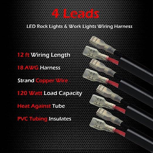 81nhsakk%2B2L._SX522_ amazon com 4 lead led rock lights wiring harness, ampper led  at edmiracle.co