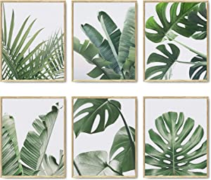 Botanical Wall Art Prints Set of 6 Tropical Leaves Decor Plant Leaf Wall Art Canvas Prints for Wall Decor Green Wall Art Posters Set for Living Room Decor (8