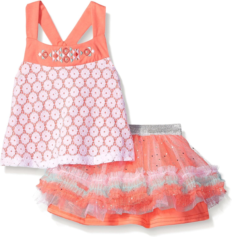 Little Lass Girls 2 Pc Lace Strap Short Set