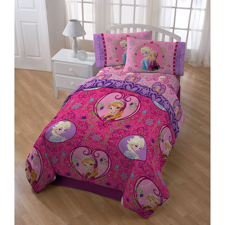 5pc Girls Kids Disney Frozen Comforter Twin Set, Adorable Pink Pretty Movie Themed Bedding + Cute Elsa Pillow Buddy