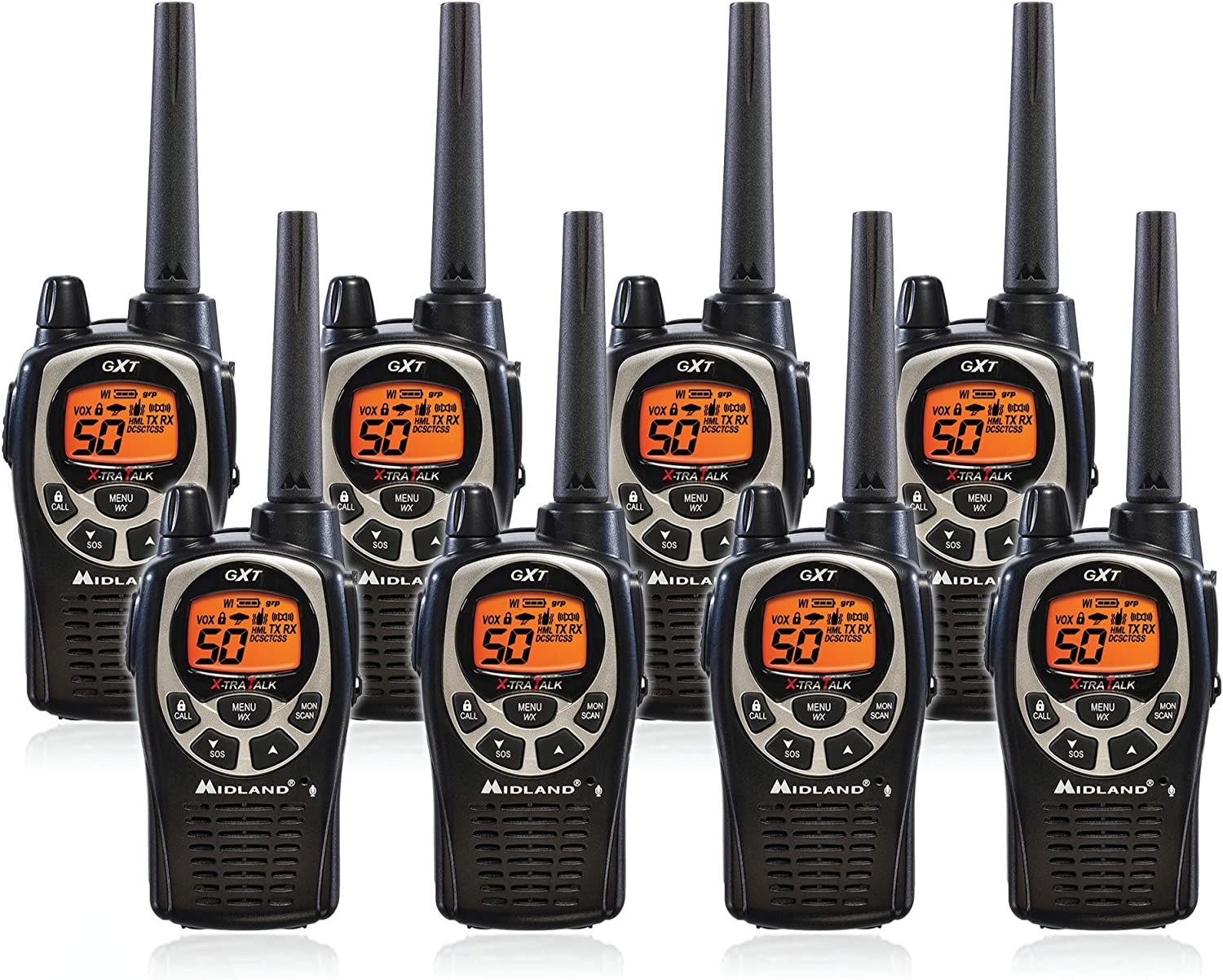 Midland GXT1000VP4 50 Channel GMRS Two-Way Radio - Up to 36 Mile Range Walkie Talkie - Black/Silver (Pack of 8)