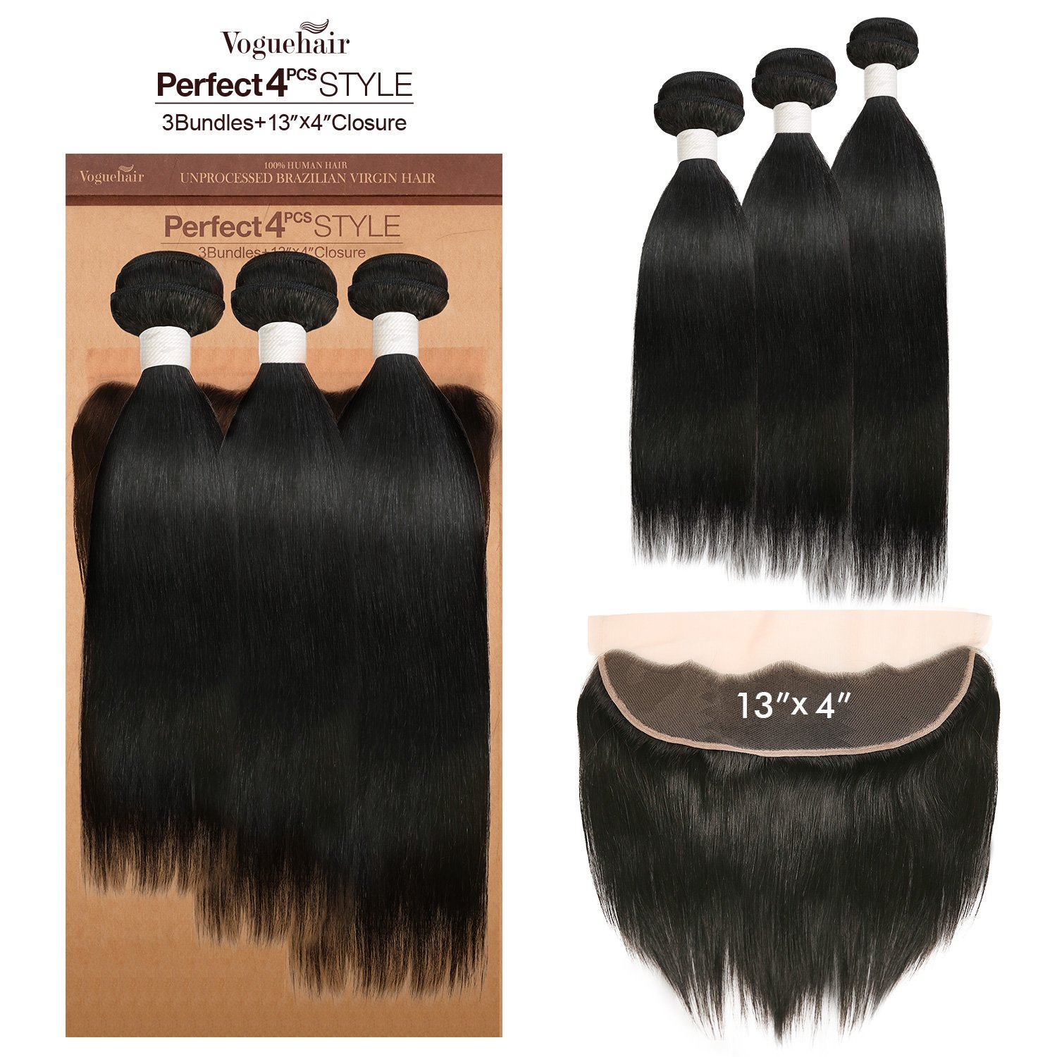 Vogue Hair 100% Virgin Human Hair Brazilian Weave Perfect 4Pcs Style 6A Natural Straight 3Pcs + 13X4 Closure (NATURAL BLACK) (18''+20''+22'' with 14'')