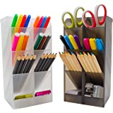 STYLIO Office Desk Organizer - Caddies for Office/ Teacher Supplies ? Translucent Black & White Caddy Organizer Racks (Set Of 4) Perfect for Desktops