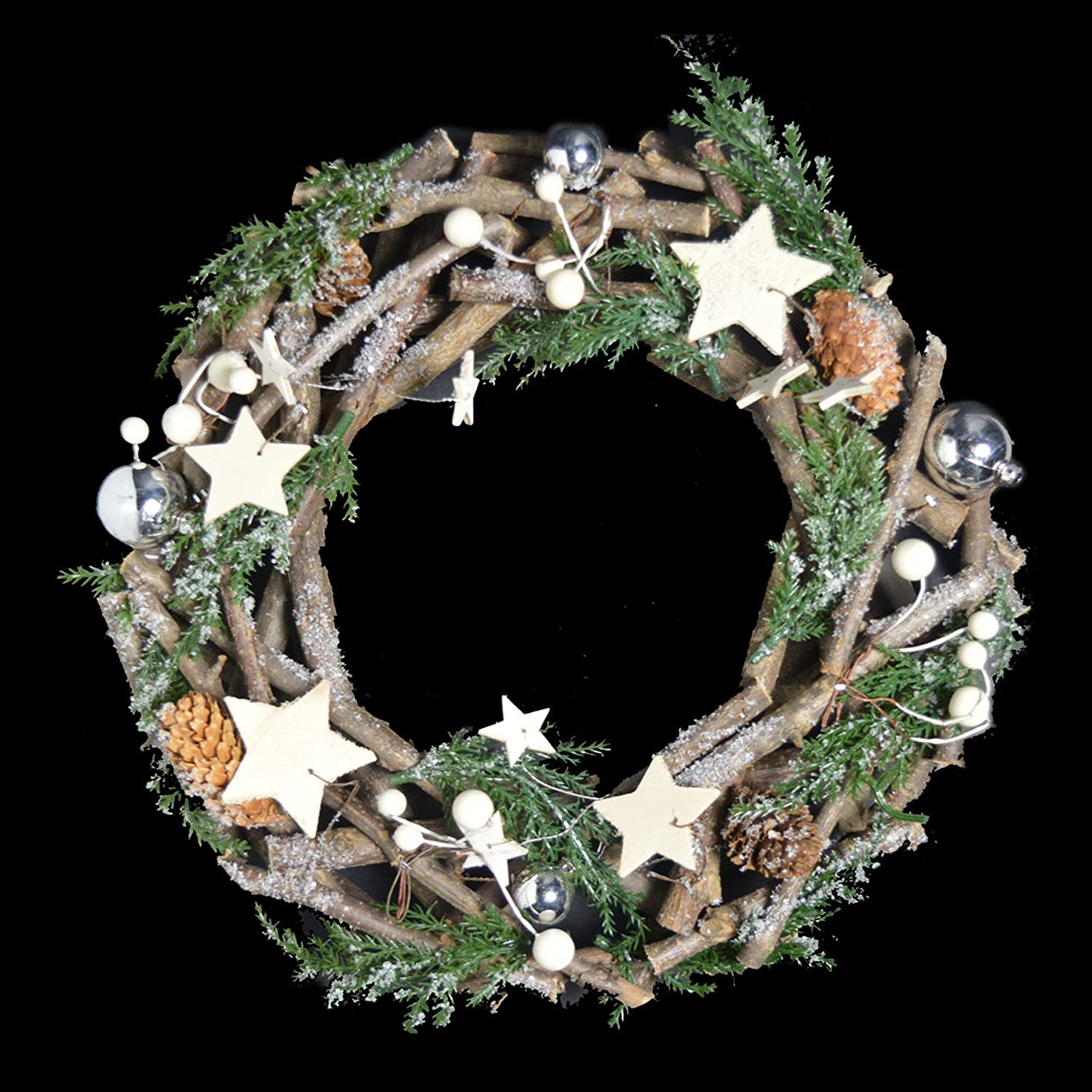 Christmas Decoration Rattan Wreath - Round