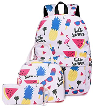 9d0ab18455fa School Backpacks Teen Girls Cute Bookbags with Lunch bag Casual Daypack  (Flamingo and Pineapple - Pink)