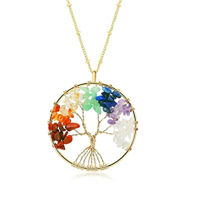 Amazon golden tree of life circle pendant 7 chakra healing golden tree of life circle pendant 7 chakra healing crystals gemstone necklace for women girls aloadofball Image collections