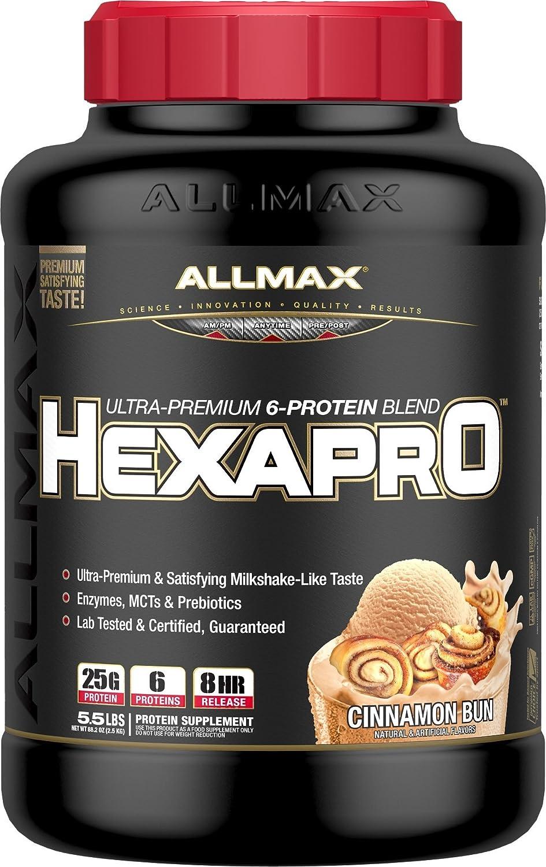 ALLMAX Nutrition Hexapro Protein Blend, Cinnamon Bun, 5.5 lbs