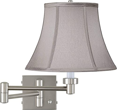 Modern Indoor Swing Arm Wall Mount Lamp Brushed Nickel Plug-in Light Fixture Dimmable Pewter Gray Bell Shade