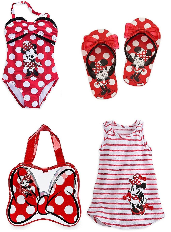 Disney Store Girls Size 5 6 Minnie Mouse Swim Set Swimsuit Flip Flops Cover Up Bag