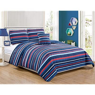 Bedspread Set for Boys/Teens Stripes Navy Blue Red Light Blue New (Full/Queen): Home & Kitchen [5Bkhe1005857]