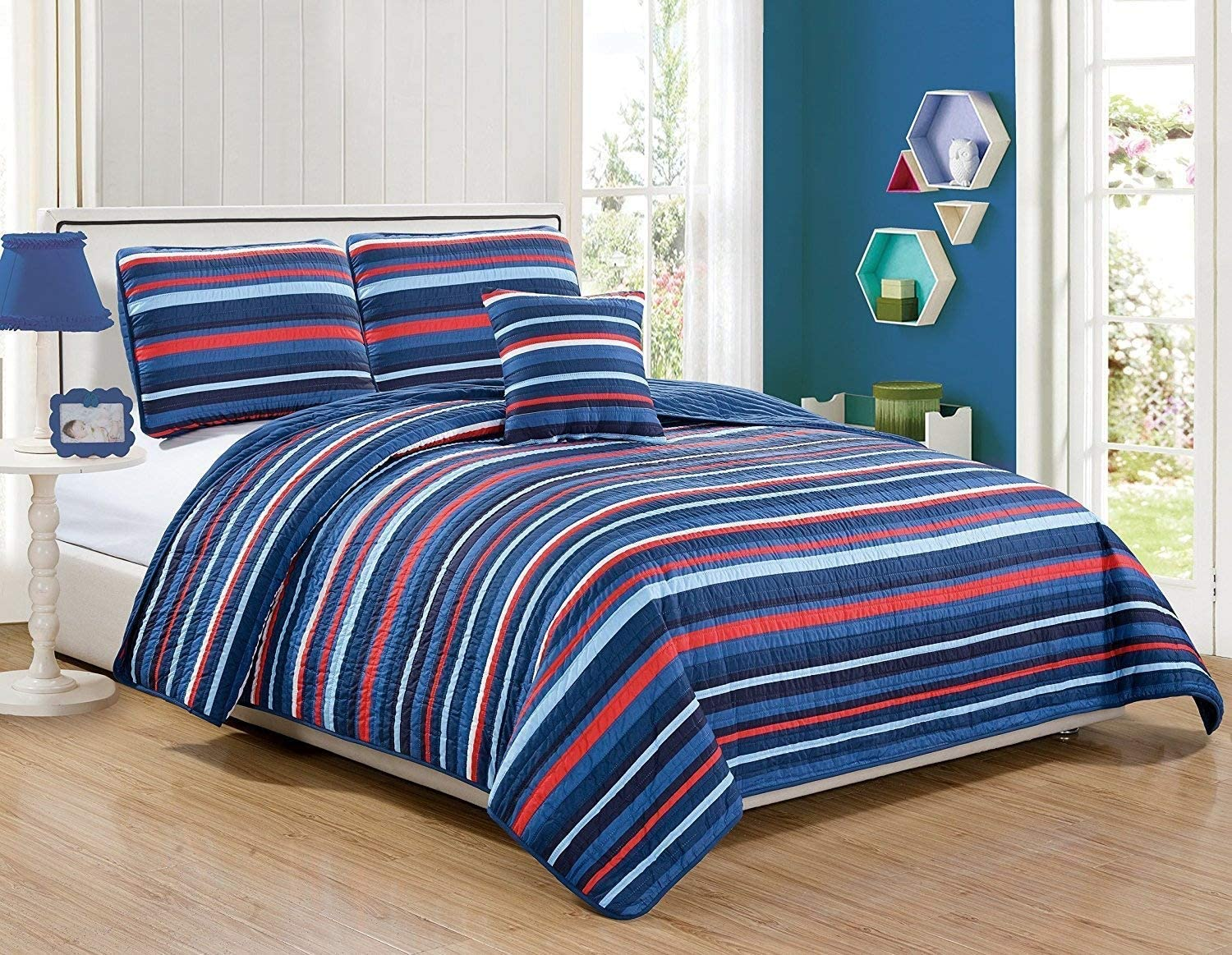 Twin Size 3pc Bedspread Set for Boys/Teens Stripes Navy Blue Red Light Blue New