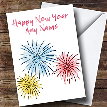 Amazon.com : White Fireworks Personalized New Years Greetings Card ...